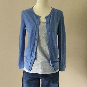 LOFT light blue slub knit cotton cardigan